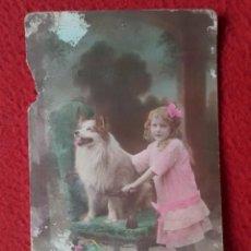 Postales: ANTIGUA TARJETA POSTAL POST CARD NIÑA CON VESTIDO ROSA Y PERRO DOG CHILD CHIEN CARTE POSTALE VER..... Lote 295843598