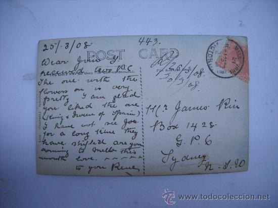Postales: 723. MOORE YACHT SAILING CENTENNIAL PARK. SIDNEY (AUSTRALIA) CIRCULADA EN 1908. - Foto 2 - 26901036