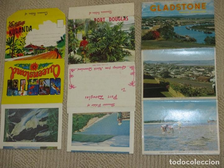 AUSTRALIA, TRES DESPLEGABLES, RECUERDO DE KURANDA, PORT DOUGLAS Y GLADSTONE, AÑOS 60 (Postales - Postales Extranjero - Oceanía)