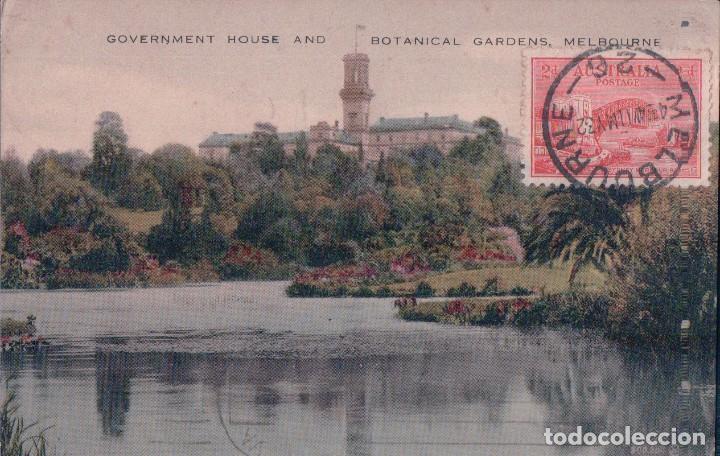 BOTANICAL GARDENS AND GOVERNMENT HOUSE - MELBOURNE - VALENTINES . AUSTRALIA POSTAL (Postales - Postales Extranjero - Oceanía)