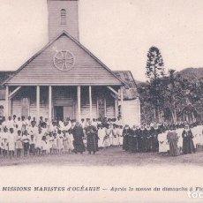 Postales: FIDJI - MISSIONS MARISTES D'OCÉANIE - APRÈS LA MESSE DU DIMANCHE À FIDJI. Lote 99274315