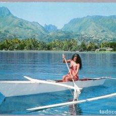 Postales: POLINESIA - PAPEETE TAHITI - PASEO EN CANOA. Lote 120896839