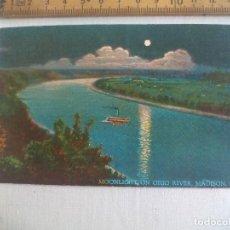 Postales: ANTIGUA POSTAL MOONLIGHT ON OHIO RIVER, MADISON IND.31393 HILLABOLD. ESTADOS UNIDOS. 1939 POSTCARD. Lote 148695118