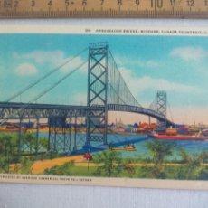 Postales: ANTIGUA POSTAL D11 AMBASSADOR BRIDGE WINDSOR CANADA TO DETROIT USA. ESTADOS UNIDOS. 1939 POSTCARD. Lote 148696178