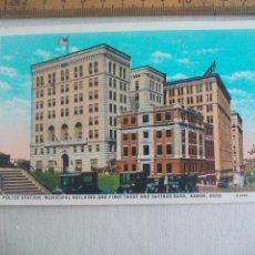 Postales: ANTIGUA POSTAL POLICE STATION MUNICIPAL BUILDING FIRST TRUST SAVINGS BANK AKRON OHIO USA POSTCARD. Lote 148697650