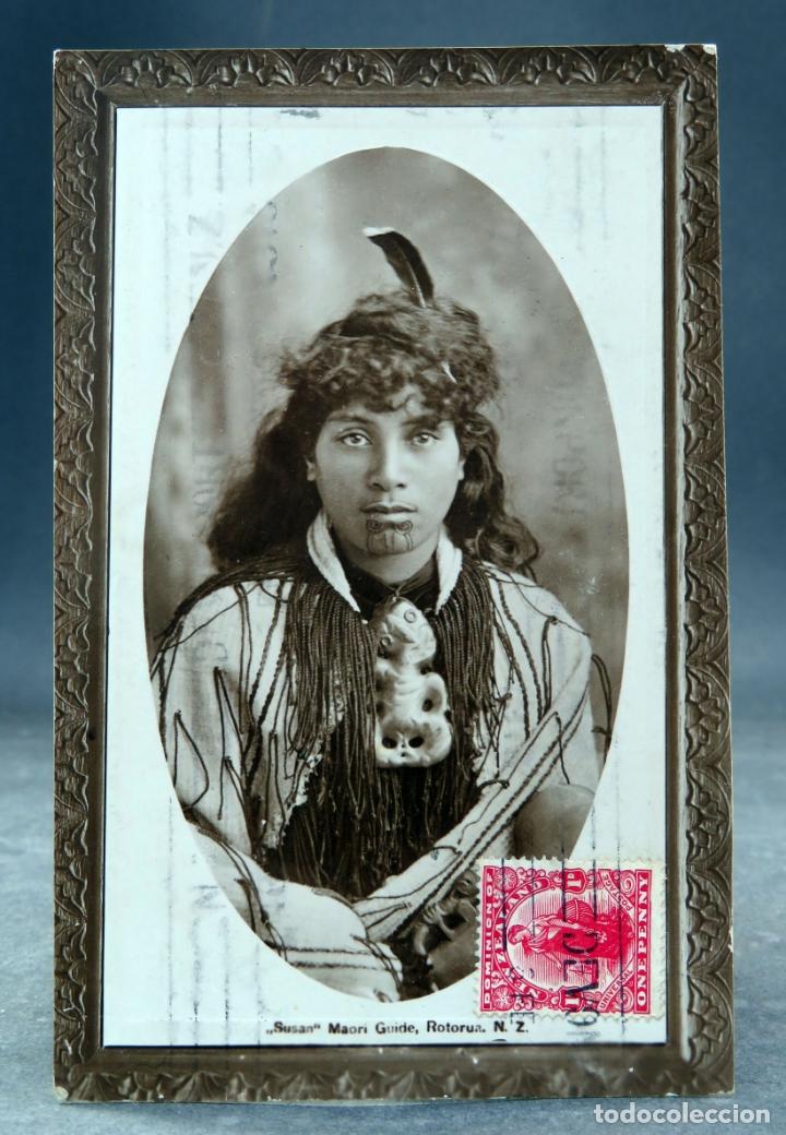 POSTAL SUSAN MAORI GUIDE ROTORUA NEW ZELAND CIRCULADA SELLO 1913 (Postales - Postales Extranjero - Oceanía)