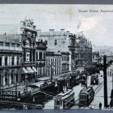 Postales: POSTAL QUEEN STREET AUCKLAND NEW ZEALAND TRANVÍAS CIRCULADA CON SELLO 1911. Lote 193583951