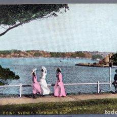 Postales: POSTAL MACQUARIE POINT SYDNEY HARBOUR AUSTRALIA NSW DAMAS ÉPOCA CIRCULADA CON SELLO 1911. Lote 193584500