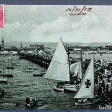 Postales: POSTAL GLENELG SOUTH AUSTRALIA PUERTO HARBOUR BARCOS CIRCULADA CON SELLO 1912. Lote 193584563