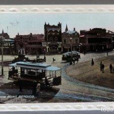 Postales: POSTAL FOTOGRÁFICA BENDIGO VIEW POINT CON DOS TRANVÍA AUSTRALIA CIRCULADA CON SELLO 1912. Lote 193584763