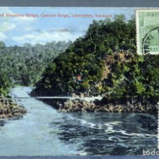 Postales: POSTAL FIRST BASIN AND ALEXANDRA BRIDGE CATARC GORGE LAUCESTON TASMANIA CIRCULADA SELLO 1913. Lote 193609615