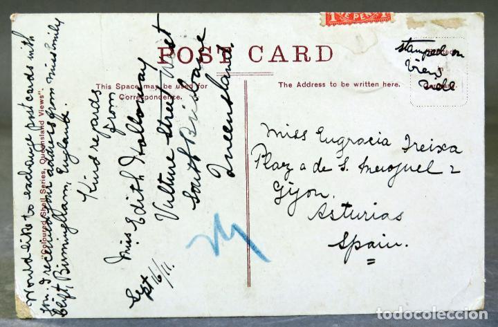 Postales: Postal Mount Tambourine Queensland Australia Coloured Shell Series circulada sello 1912 - Foto 2 - 193616645