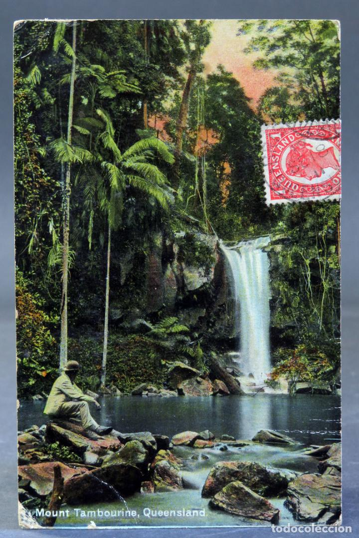 POSTAL MOUNT TAMBOURINE QUEENSLAND AUSTRALIA COLOURED SHELL SERIES CIRCULADA SELLO 1912 (Postales - Postales Extranjero - Oceanía)
