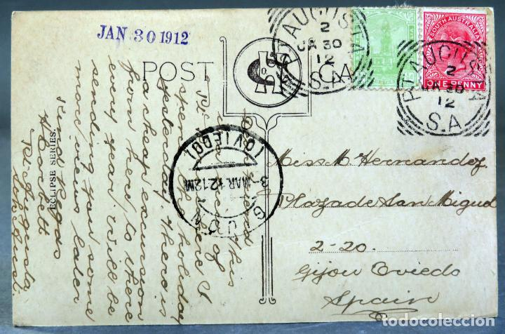 Postales: Postal fotográfica Port Pirie Australia muelles puerto buque Eclipse Series circulada sello 1912 - Foto 2 - 193618202