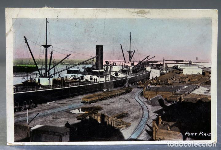 POSTAL FOTOGRÁFICA PORT PIRIE AUSTRALIA MUELLES PUERTO BUQUE ECLIPSE SERIES CIRCULADA SELLO 1912 (Postales - Postales Extranjero - Oceanía)
