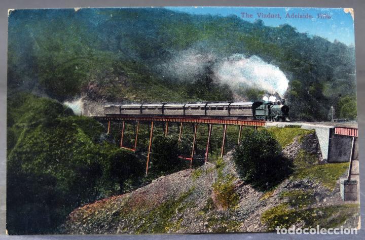 POSTAL THE VIADUCT ADELAIDE HILLS AUSTRALIA PASO TREN LOCOMOTORA VAPOR ESCRITA HACIA 1912 (Postales - Postales Extranjero - Oceanía)
