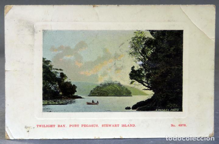 POSTAL TWILIGHT BAY PORT PEGASUS STEWART ISLAND NEW ZEALAND R MASSEY CIRCULADA SELLO 1912 (Postales - Postales Extranjero - Oceanía)