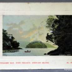 Postales: POSTAL TWILIGHT BAY PORT PEGASUS STEWART ISLAND NEW ZEALAND R MASSEY CIRCULADA SELLO 1912. Lote 193618500