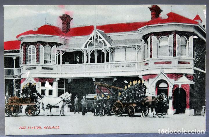 POSTAL ADELAIDE FIRE STATION ESTACIÓN BOMBEROS AUSTRALIA ESCRITA HACIA 1912 (Postales - Postales Extranjero - Oceanía)
