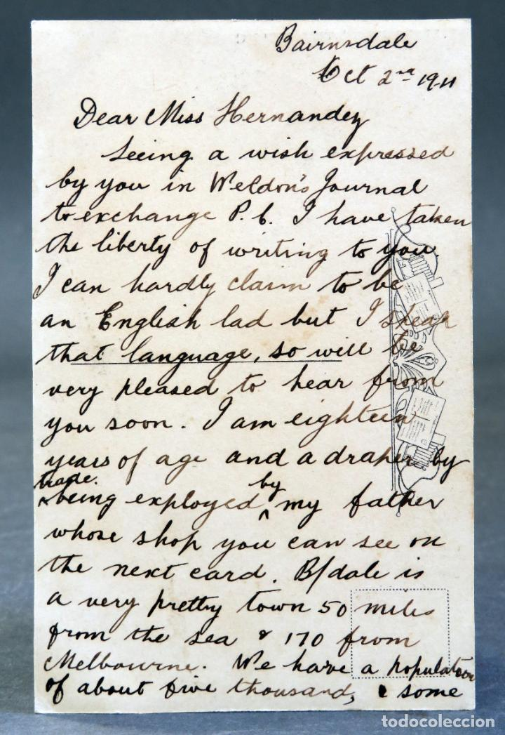 Postales: Postal fotográfica viajeros bosque Cuningham Australia Daniel Gully escrita 1911 - Foto 2 - 193717133
