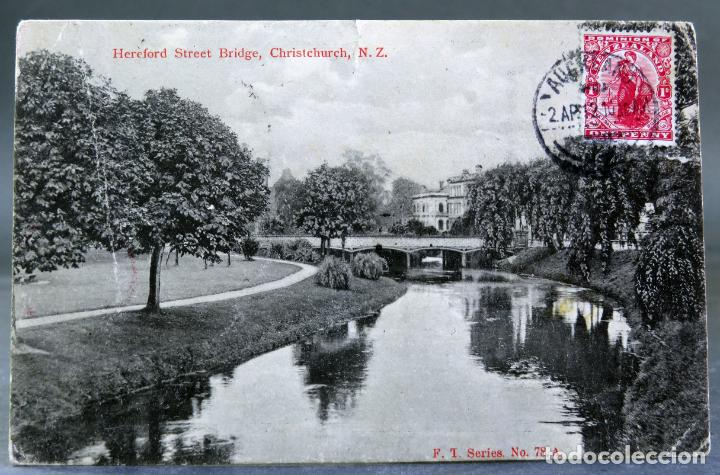 POSTAL FOTOGRÁFICA HEREFORD STREET BRIDGE CHRISTCHURCH NEW ZEALAND NUEVA ZELANDA CIRCULAD SELLO 1912 (Postales - Postales Extranjero - Oceanía)