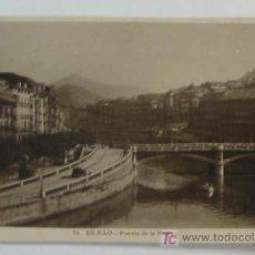 Postales: TARJETA POSTAL BILBAO. PUENTE DE LA MERCED. Lote 3232737
