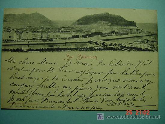 2891 SAN SEBASTIAN CIRCULADA EN 1900 MAS EN MI TIENDA TC COSAS&CURIOSAS (Postales - España - Pais Vasco Antigua (hasta 1939))