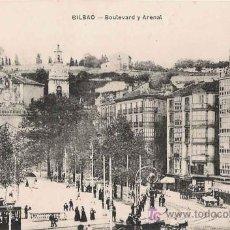 Postales: BILBAO - BOULEVARD Y ARENAL , TRANVÍAS. Lote 22693065