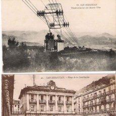 Postales: SAN SEBASTIÁN - PLAZA DE LA CONSTITUCIÓN Y TRANSBORDADOR DEL MONTE ULIA. Lote 22693064