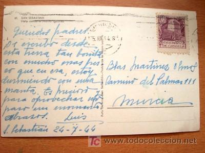 Postales: SAN SEBASTIAN AÑOS 40 - POSTAL MANUSCRITA FECHADA AÑO 1944 Y CON SELLO MATASELLADO. - Foto 2 - 16870591