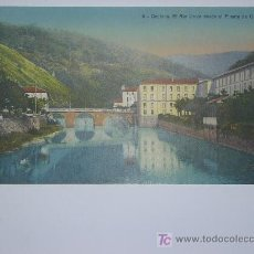Postales: CESTONA, EL RIO UROLA DESDE EL PUENTE DE CRISTAL. Lote 27035755
