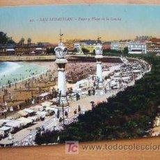 Postales: SAN SEBASTIAN - PASEO Y PLAYA DE LA CONCHA. Lote 14984445