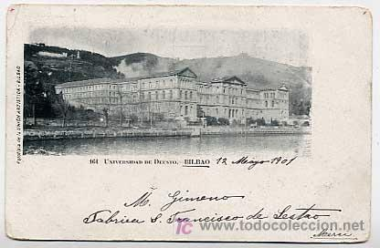 BILBAO. UNIVERSIDAD DE DEUSTO. FOTOTIPIA UNION ARTISTICA. REVERSO SIN DIVIDIR CIRCULADA (Postales - España - Pais Vasco Antigua (hasta 1939))