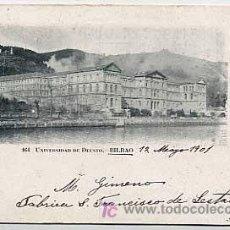 Postales: BILBAO. UNIVERSIDAD DE DEUSTO. FOTOTIPIA UNION ARTISTICA. REVERSO SIN DIVIDIR CIRCULADA. Lote 5128487