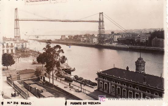 BILBAO.PUENTE DE VIZCAYA.CIRCULADA 1956 (Postales - España - País Vasco Moderna (desde 1940))