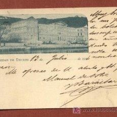 Postales: UNIVERSIDAD DE DEUSTO, BILBAO, CIRCULADA EN 1904. REVERSO SIN DIVIDIR (VER FOTO ADICIONAL REVERSO). Lote 25336121