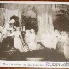 Postales: ANTIGUA POSTAL DEL MUSEO MUNICIPAL DE SAN SEBASTIAN - LA PRIMERA COMUNION - VAL DIVIESO - RESINES FO. Lote 6369430
