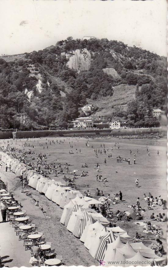 ZARAUZ. MONTE SANTA BARBARA Y PLAYA. CIRCULADA EN 1961 (Postales - España - País Vasco Moderna (desde 1940))