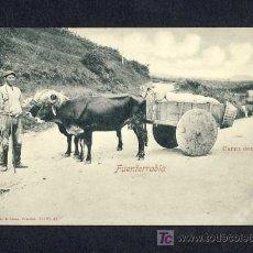 Postales: POSTAL DE FUENTERRABIA (GUIPUZCOA): CARRO CON BUEYES (ED.ROMMLER NUM. 16525, 42) (ANIMADA). Lote 7906227
