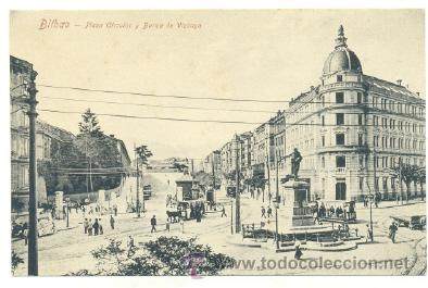 POSTAL BILBAO .. PLAZA CIRCULAR Y BANCA DE VIZCAYA (Postales - España - Pais Vasco Antigua (hasta 1939))