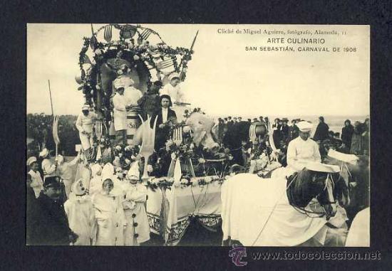 POSTAL DE SAN SEBASTIAN (GUIPUZCOA): CARNAVAL DE 1908: ARTE CULINARIO (M.AGUIRRE) (ANIMADA) (Postales - España - Pais Vasco Antigua (hasta 1939))