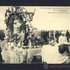 Postales: POSTAL DE SAN SEBASTIAN (GUIPUZCOA): CARNAVAL DE 1908: ARTE CULINARIO (M.AGUIRRE) (ANIMADA). Lote 10337603