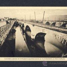 Postales: POSTAL DE IRUN (GUIPUZCOA): LOS TRES PUENTES DE LA FRONTERA ESPAÑOLA (ED.BONCELET). Lote 10361328