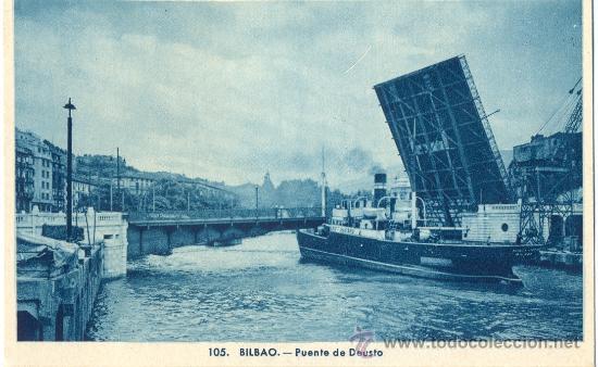 BILBAO. PUENTE DE DEUSTO. POSTAL TONOS AZULES, C. 1950. BI (Postales - España - País Vasco Moderna (desde 1940))
