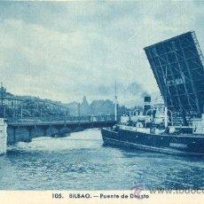 Postales: BILBAO. PUENTE DE DEUSTO. POSTAL TONOS AZULES, C. 1950. BI. Lote 21183928