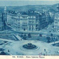 Postales: BILBAO. PLAZA DE FEDERICO MOYÚA. POSTAL TONOS AZULES, C. 1950. BI. Lote 21183929