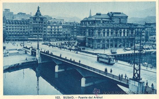 BILBAO. PUENTE DEL ARENAL. POSTAL TONOS AZULES, C. 1950. BI (Postales - España - País Vasco Moderna (desde 1940))