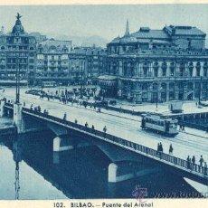 Postales: BILBAO. PUENTE DEL ARENAL. POSTAL TONOS AZULES, C. 1950. BI. Lote 21183930