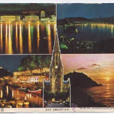 Postales: POSTAL SAN SEBASTIAN - VISTA PARCIAL NOCTURNA - 1966. Lote 17087447
