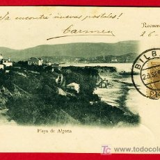 Postales: RECUERDO DE BILBAO, PLAYA DE ALGORTA , P29252 REVERSO CUÑO 23-7-92. Lote 27356217